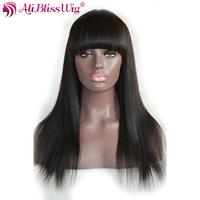 AliBlissWig Yaki Droite de Cheveux Humains Perruques Avec Une Frange # 1B Couleur 130% Densité Brésiliens Remy Cheveux Soie Base Cheveux Verticille