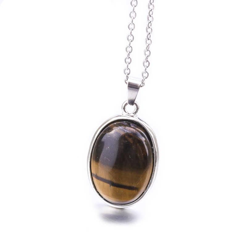 25MM סגלגל טבעי אבן שרשראות תליוני ורוד קוורץ ורוד גביש עין נמר אופל Neklace