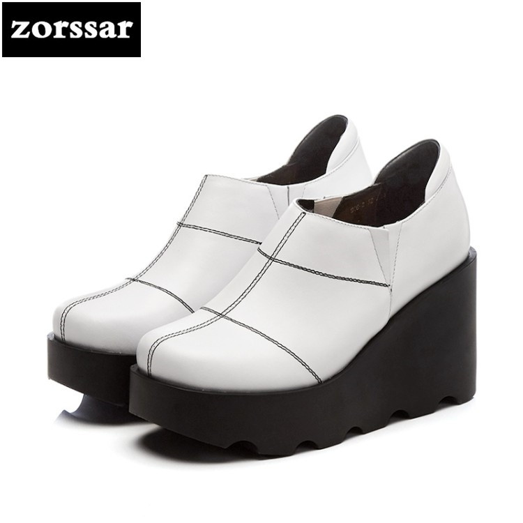 {Zorssar} 2018 NEW Genuine Leather fashion womens shoes heels Wedges Slip-on High heels Platform pumps ladies Creepers shoes 2017 new women s genuine leather pumps female casual shoes sexy lady medium heels fashion high wedges platform flower slip on