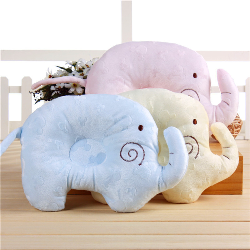 1pc Comfortable Cotton Elephant Anti Roll Sleep Pillow Lovely Baby Toddler Prevent Flat Head Concave Positioner Shaping Pillow