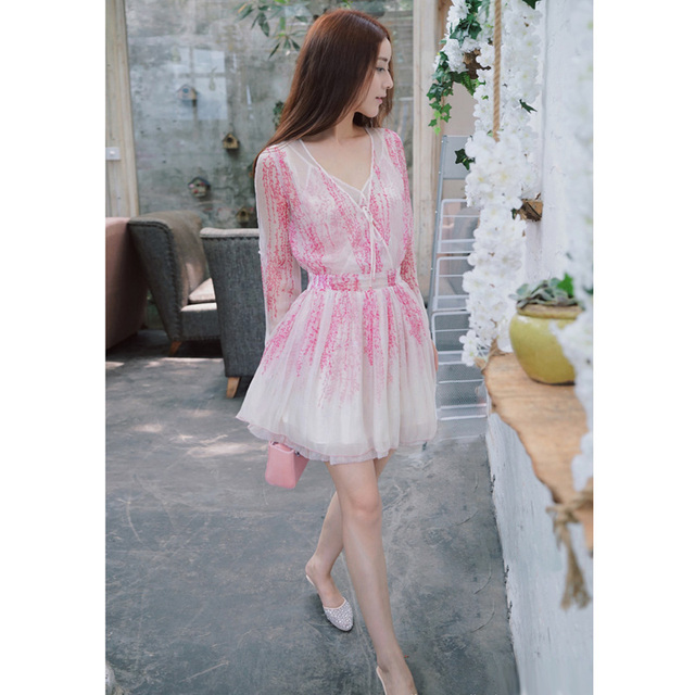 341f8fff0cc pink floral print chiffon summer dress korean dress lace up v neck multi  layers buttoned slit-sleeve a-line dress casual sale