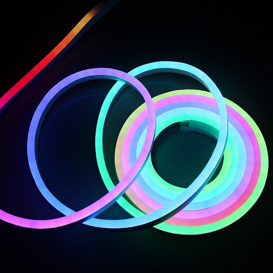 Us 179 55 37 Off 10m Dmx512 Rgb Ws2811 Ic Led Flexible Neon Light Flex Rope Bar Smd5050 Soft Strip Lights Waterproof Dc12v Dc24v In