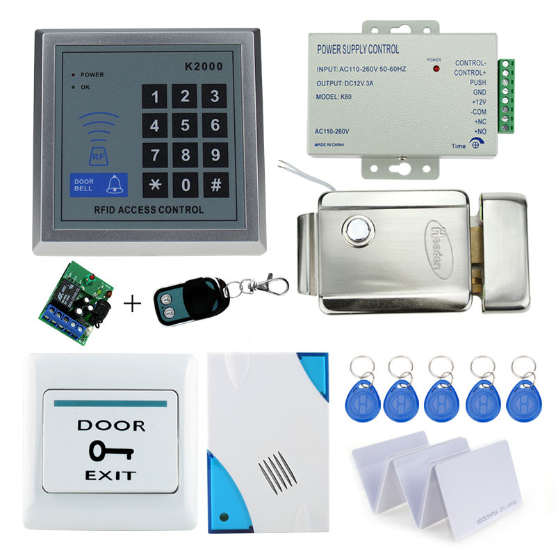 diy kit access control security keypad with metal electric security lock+power supply+door exit button+bell+10pcs key cards best wireless home security door bell call button access control with 1pcs transmitter launcher 1pcs receiver waterproof f3310b