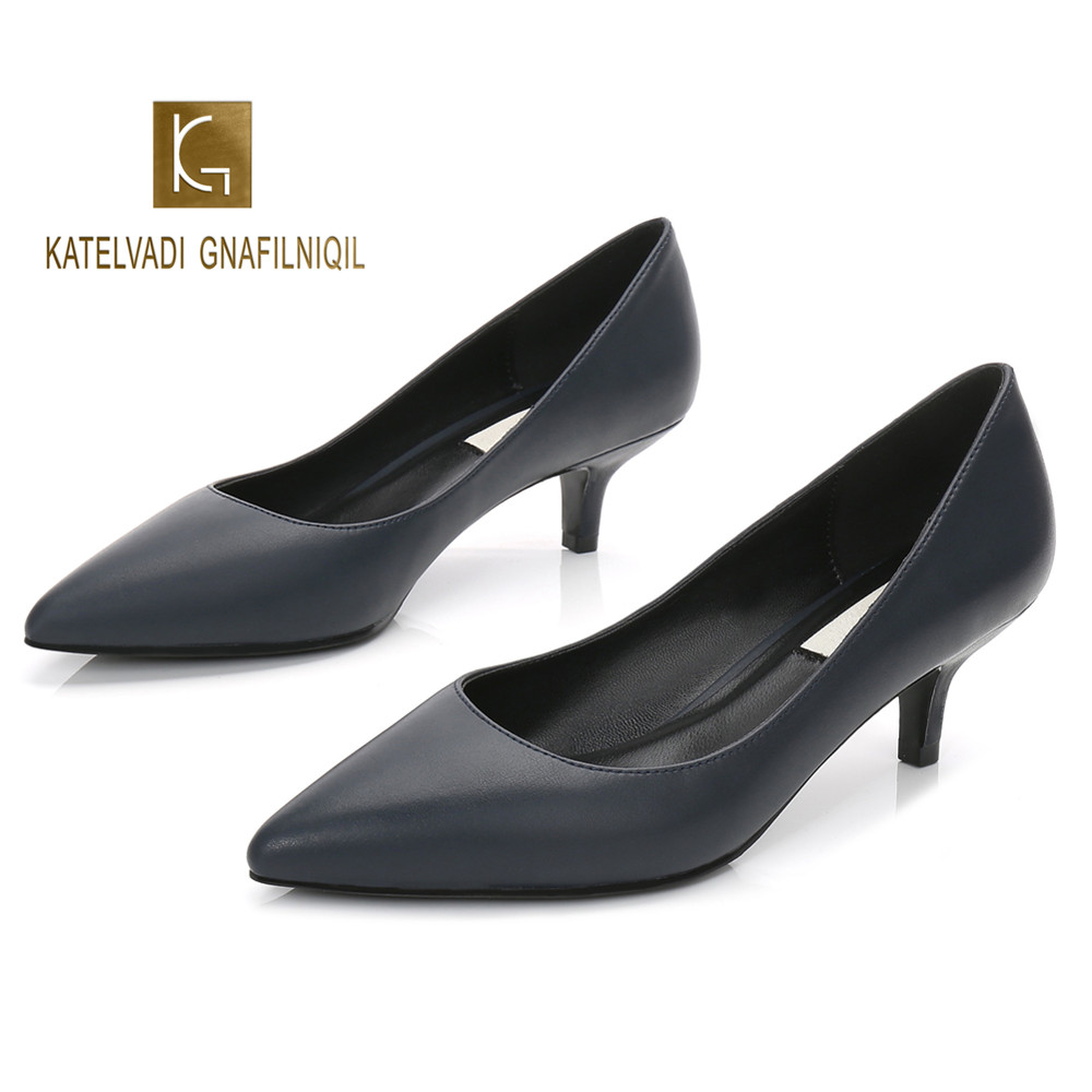 5CM Heels Working Shoes Navy Blue Microfiber Women Office Shoes Pumps Brand Women Shoes Pointed Toe Wedding Shoes K-225