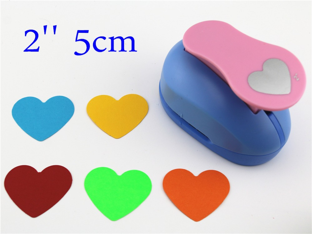 Heart Shaped 2'' craft punch paper cutter scrapbook child craft tool hole punches Embosser kid S2935-7 puncher 1mm leather punch hole round row prong puncher cutter pitch eyelet maker punches hand tool 2 4 6 holes for leather craft