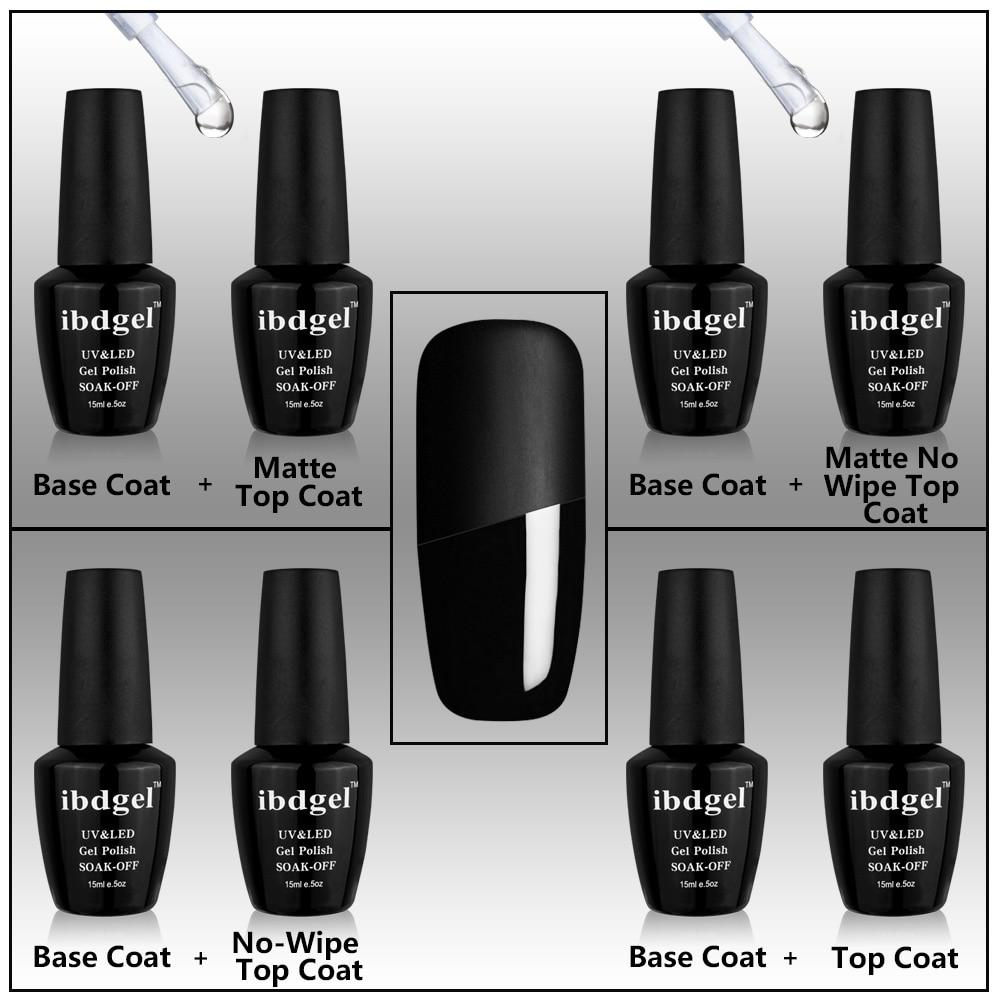 2 Pcs Set Kit IBDGEL Nail Gel Polish(1 Matte No Wipe Top + 1 Base Coat ) New Gel Polish 15ml Nails Gel Factory Black Big Bottle 2