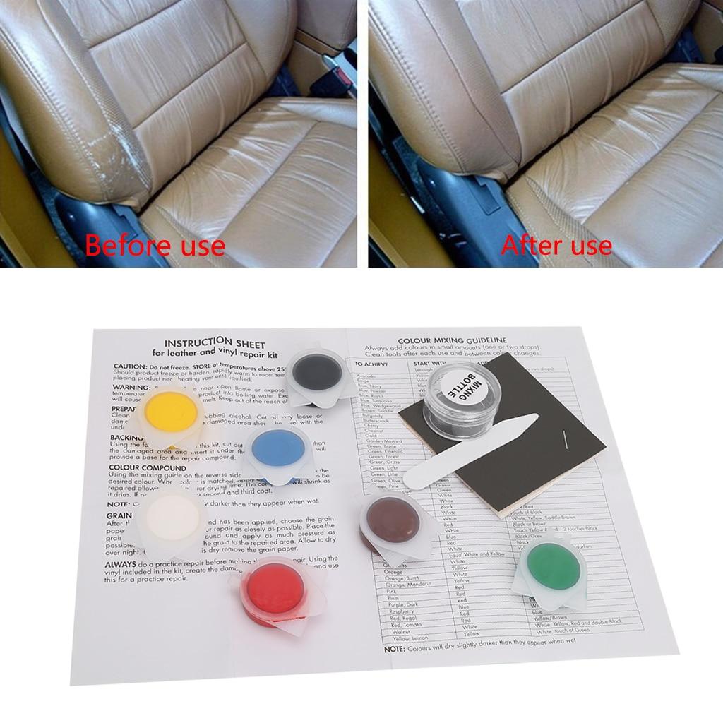 Auto Car Seat Sofa Coats Holes Scratch Cracks Rips Leather Vinyl Repair Kit Tool