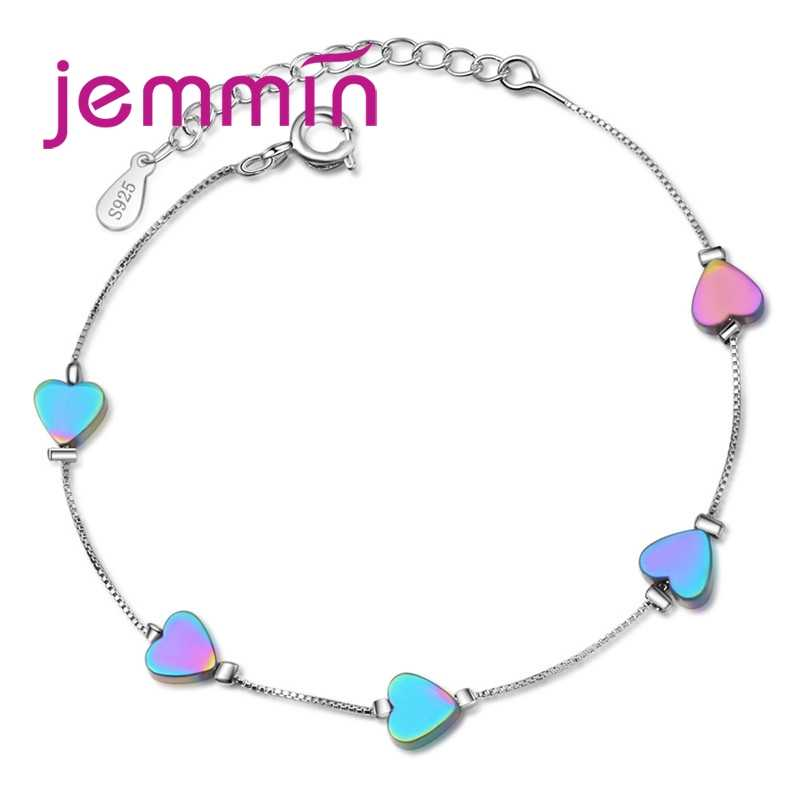 Fashion Girls Collections Party Dazzle Noble Colorful Heart 925 Sterling Silver Bracelet For Best Friend Friendship Gift