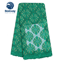 Bestway Latest Guipure Lace Fabric Embroidered Cord Rhinestones Big Flowers Water Soluble African Nigerian Party