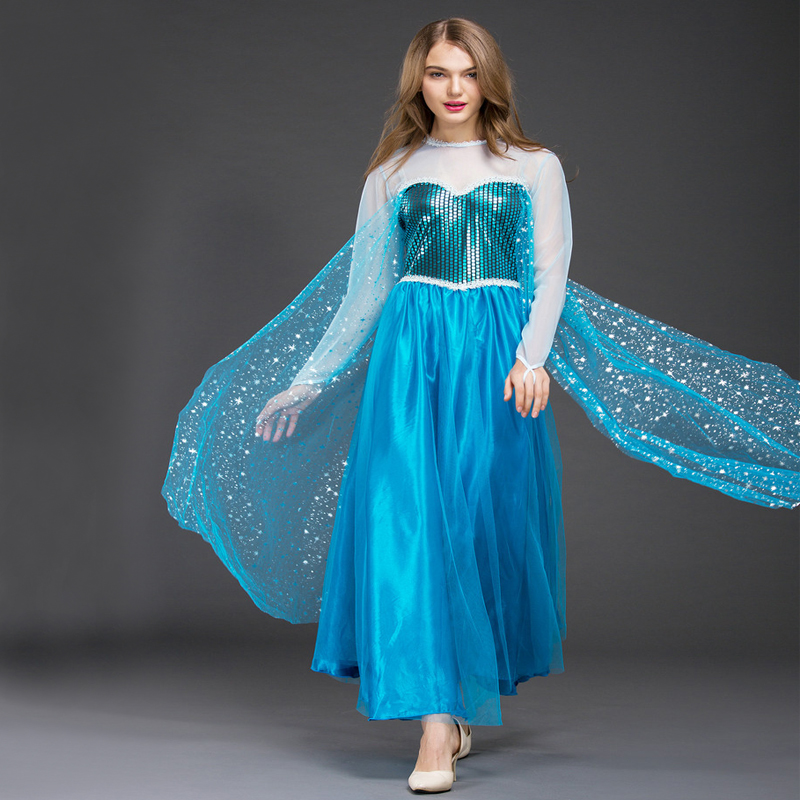 Free shipping New style adult FROZEN dress Halloween role playing cosplay costume Christmas Elsa princess long dress for women