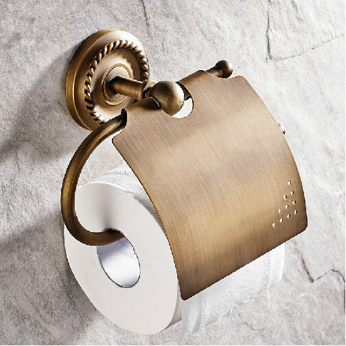 Bathroom accessories Bathroom brass paper holder toilet roll holder wall paper hanger white painting wall mount brass bathroom toilet paper holder hook hanger shelf