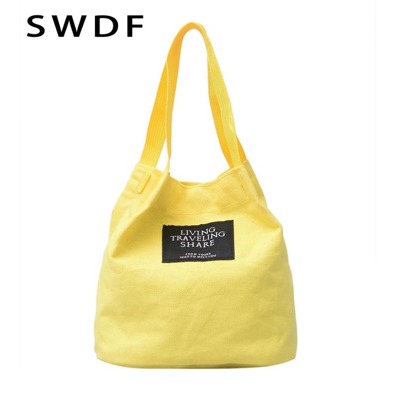 cde00ded6 SWDF High-Quality Women Men Handbags Canvas Tote Bags Reusable Cotton  Grocery Shopping Bag Webshop Eco Foldable Shopping Cart