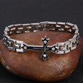 Fashion Punk Men Jewelry Bracelet Stainless Steel Cuff Bangle Silver Hand Chain Cross Crystal  Wristband
