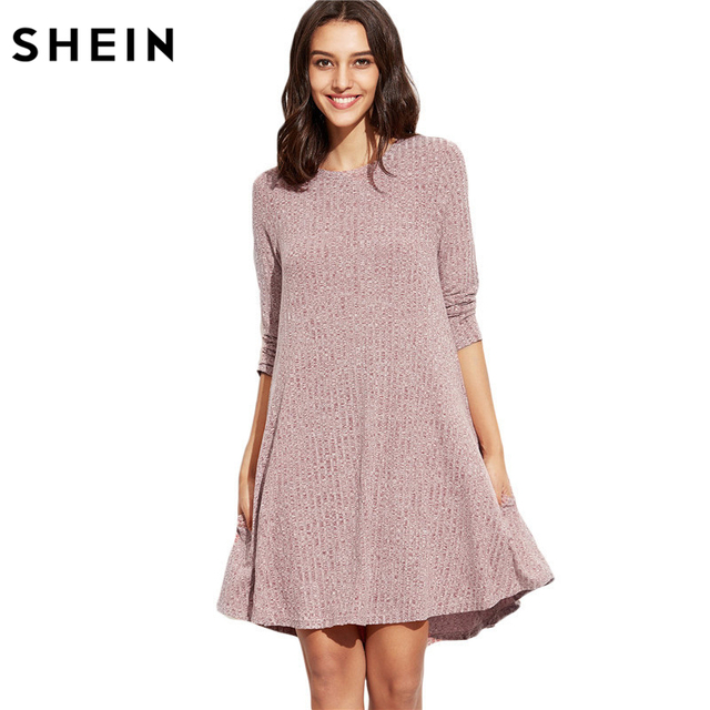 SHEIN Winter Dresses Women 2016 Burgundy Round Neck Three Quarter Length Sleeve Marled Knit Ribbed Swing Casual Shift Dress