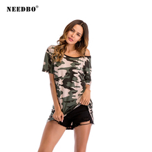 NEEDBO Women Tshirt High Quality 2019 Funny Summer T Shirt New Arrivals t shirt Camouflage femme Casual T-shirt Tops