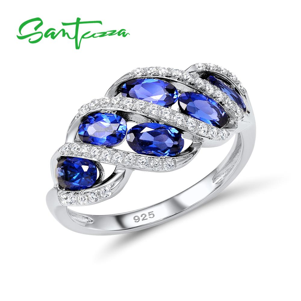 Santuzza Silver Rings for Woman Blue Nano CZ Stone Ring AAA Cubic Zirconia Rings Pure 925 Sterling Silver Party Fashion Jewelry colorful cubic zirconia hoop earring fashion jewelry for women multi color stone aaa cz circle hoop earrings for party jewelry