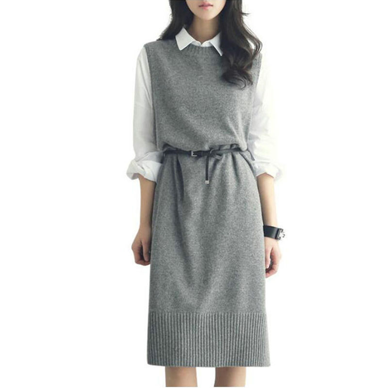 Casual Long Vest Women Mid-long Sweater Sleeveless Dress Clothing Female Knitted Wool Round Neck Belt Vest Pullover Fashion