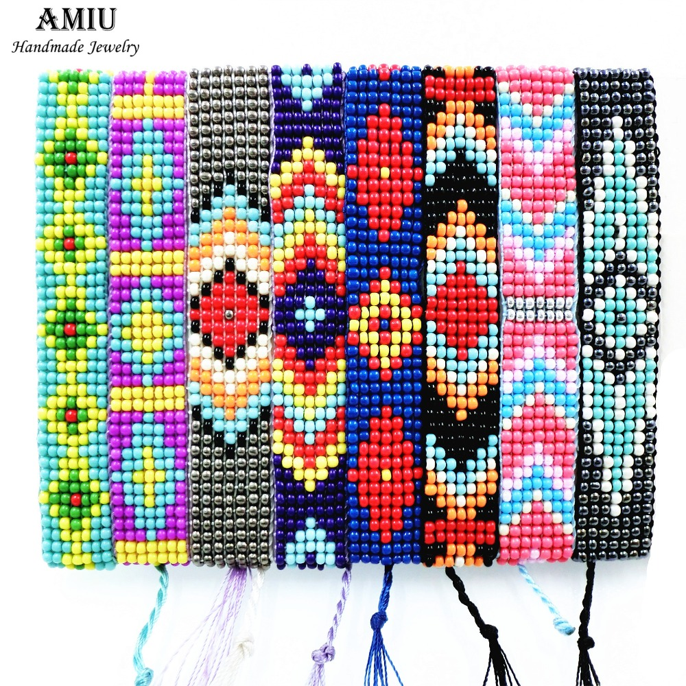 AMIU Jewelry Friendship Bracelet Hippie Handmade Seed Beads Charm Rainbow Bracelets For Women Men 2019 Beach Christmas Day Gift