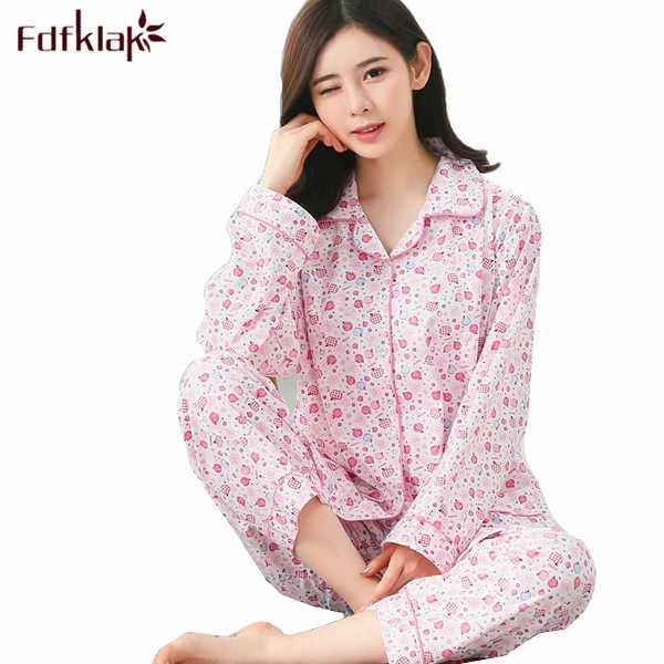 Pajamas For Women Winter Long Sleeve Cotton Women Nightwear Home Clothes Pijamas Mujer Ladies Pyjamas Plus Size XL XXL 3XL Q378