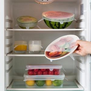 Image 5 - 6 stks/set Hot Huishoudelijke Voedsel Verse Houden Deksels Rekbaar Multi functionele Groente en Siliconen Cover Keuken Benodigdheden