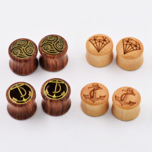4pair Wood Ear Piercing Expanders Plugs Flesh Ear Tunenls Earring Skins Stretchers for women men Body Piercing Jewelry