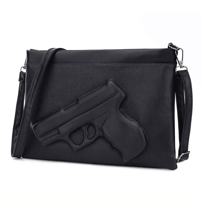 Fashion Women Shoulder Crossbody Bag 3d Gun Handbags Clutch Pu Leather Pistol Bags Ladies Messenger Bag Envelope Tote 2016 new women leather handbags fashion shoulder bag high quali women s messenger bags ladies crossbody bag clutch wallet 2 sets