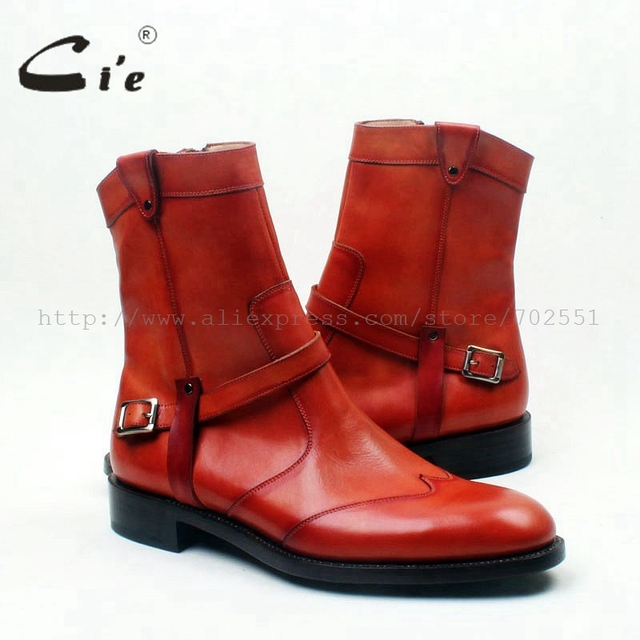 Ci'e – Handmade Calf Leather Men's Boot With Zipper, Leather Bottom Out sole.
