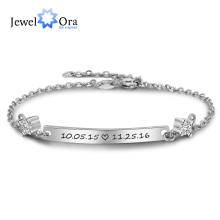 Personalized Gift ID Braceles With Cubic Zirconia Customize Engrave Name Bracelets & Bangles For Women (JewelOra BA102098)(China)