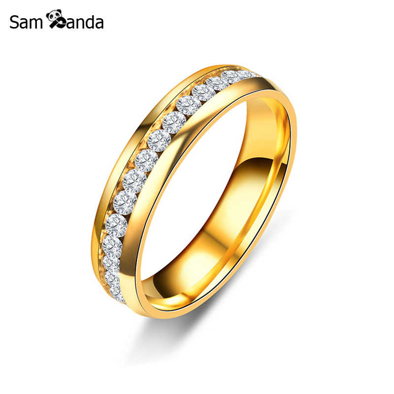2ae4667858e31 New Gold Colour 316L Stainless Steel Ring Titanium Steel Engagement Wedding  Rings For Women Men Jewelry Anillos sa924