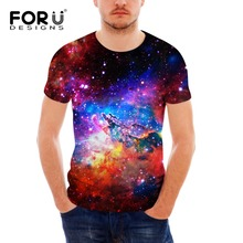 FORUDESIGNS Fashion Mens T shirt Slim Fit 3D Universe Galaxy Space Pattern T-shirts Casual Men O Neck Short-Sleeve Tops&Tess
