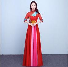 2018 Red Cheongsam Long Qipao Traditional Chinese Dress Vestido Oriental Style Dresses China Clothing Store Robe Longue Chinoise
