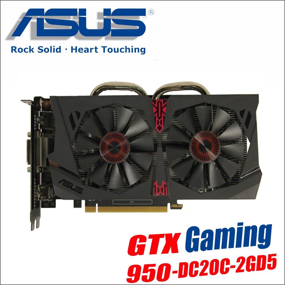 Использовать оригинальный ASUS Видеокарта GTX 950 2 ГБ 128Bit GDDR5 Графика карты для nVIDIA Geforce GTX950 Hdmi Dvi игры 1050 1050ti