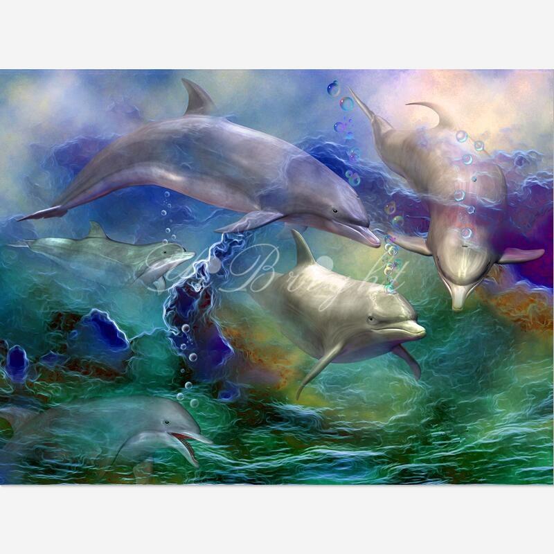 5D DIY Diamond Painting Dolphin Dream_PWD Cross Stitch Needlework Home Decorative Full Square 3D ANIMAL Diamond Embroidery LRR