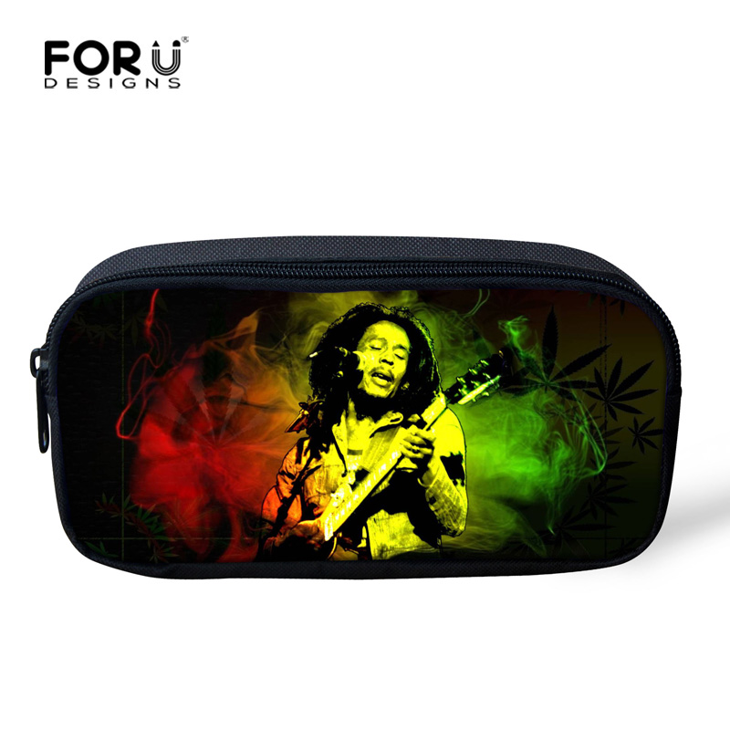 Fashion Women Girls Cosmetic Bags Mini Designer Make Up Bag Cool Cartton Character Reggae Bob Marley Pencil Bag Case for School
