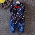 2016 новых внешней торговли мальчиков костюмы с длинными рукавами dot рубашка + джинсы костюмы детская одежда установить