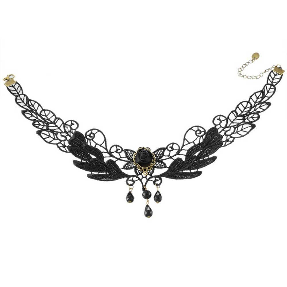 1PCNice femmes Style noir tissu Rose fleur perles pendentif ras du cou dentelle collier gothique bijoux faux col collier déclaration