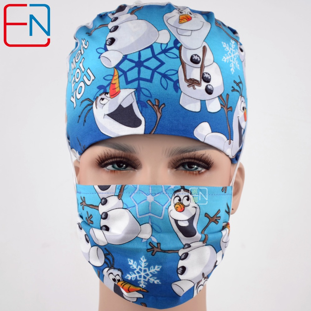 Hennar Cotton Surgical Caps Masks Unisex Blue Pink Print Medical Surgical Caps Cotton Hospital Nurse Hat Men Women Medical Mask