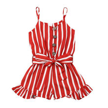 3-8Y Toddler Kid Baby Girl Romper Clothes Sleeveless Striped Red Striped Strap Overalls Summer Chiffon Outfit
