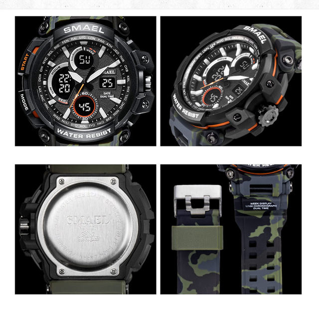 SMAEL Sport Watches 2018 Men Watch Waterproof LED Digital Watch Male Clock Relogio Masculino erkek kol saati 1708B Men Watches