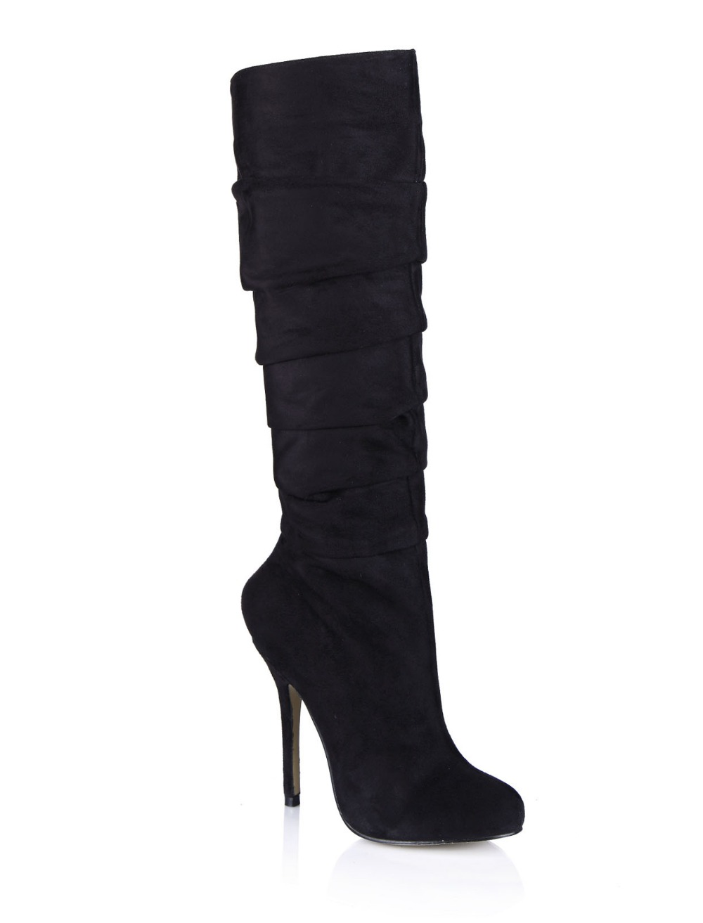 hot sexy stiletto high heeled boots fashion pu suede zipper pleated knee high boots round toe female long boots high heels shoes 20cm pole dancing sexy ultra high knee high boots with pure color sexy dancer high heeled lap dancing shoes
