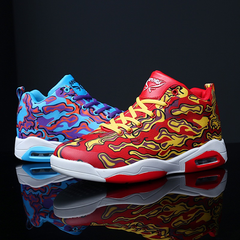 e3fb163b3ba84 Autumn and winter new fashion casual high to help graffiti personality men s  basketball shoes outdoor youth sports men s shoes
