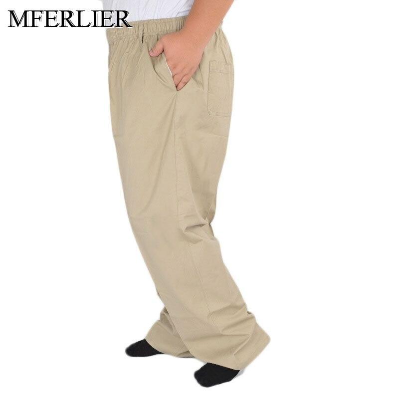 MFERLIER Summer Pants Men 5XL 6XL 7XL 8XL 9XL 10XL 11XL 12XL 13XL Waist 150cm Plus Size Loose 5 Colors Trousers Men