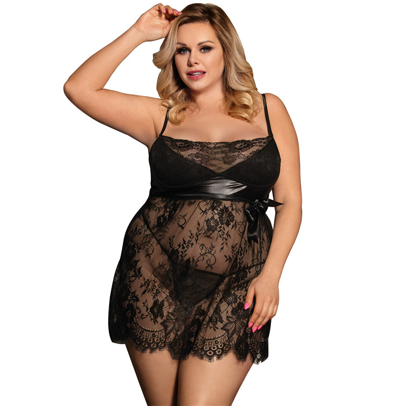Lace Babydoll Sexy Plus Size Lingerie 5XL 7XL Lenceria Erotica Mujer Sexi Nuisette Black White Red Transparent Sex Dress R80456 in Babydolls Chemises from Novelty Special Use