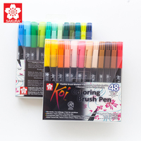 Sakura Koi Water Color Brush Pen XBR 6/12/24/48 Colors Dyestuff Ink Flexible Nylon Nib Used in fine art, doodling, journaling