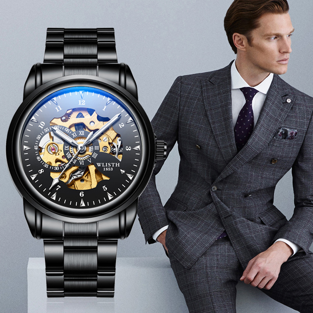 2019 Men Watches Top Brand Luxury WLISTH Mechanical Watches for Men Hour Erkek Kol Saati Luminous Black Skeleton Automatic Watch 2