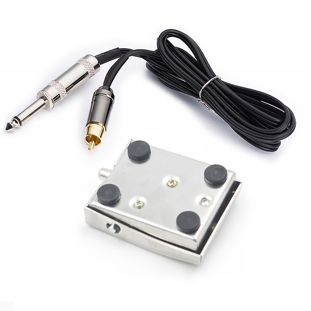 New Tattoo Supply Square Stainless Steel Foot Pedal With 6 FT RCA Clip Cord For