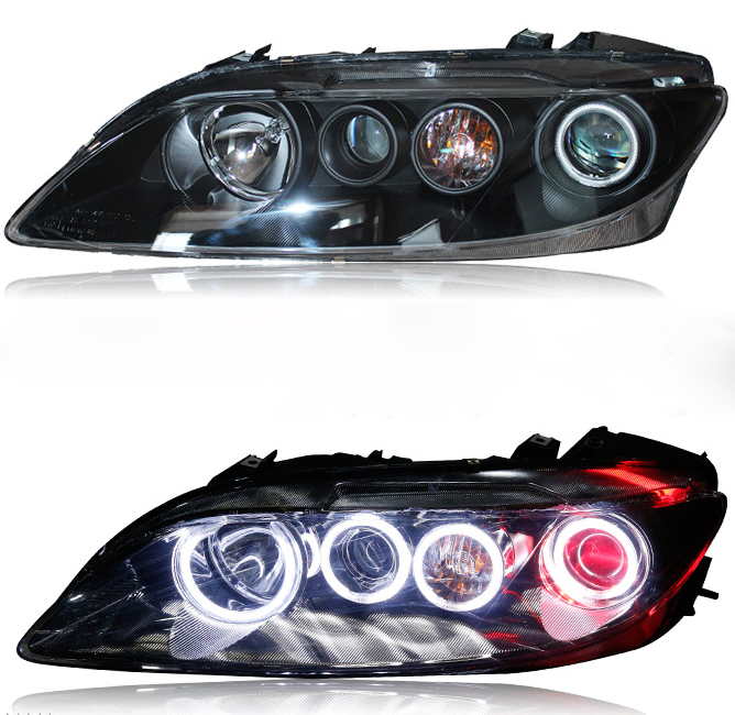 Bi-Xenon Headlights For MAZDA 6 2003-2004 Hi-Low Beam Projector Lens with Angel Eyes Car Headlights  clocks and colours nomad