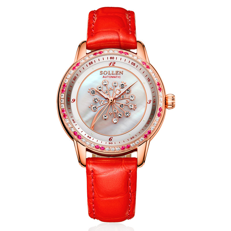 SOLLEN SL408 watches women luxury brand automatic mechanical Romantic dandelion shell pearl diamond sapphire red calfskin цена