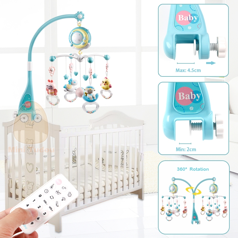 Baby cot Mobile with Lights and Music Stand Remote Control Rotating Musical Crib with Projector Hanging Rattles and Remote Control Music Box Toys for Newborn Infant Boys Girls Blue
