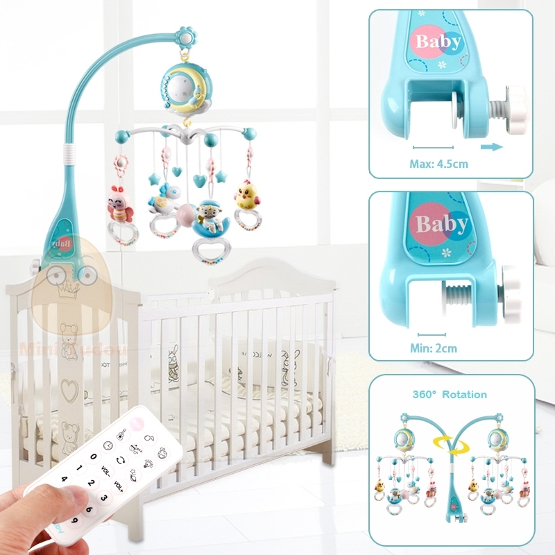 Baby Bed Rattles Crib Mobiles Toys Holder with Lights and Music Rotating Mobile Bed Musical Box Hanging Rattles Projection for Newborn Infant Baby Boys and Girls